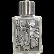 Dancing Couple - vintage Perfume Bottle - Jonette - Clear Glass pewter JJ