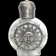 Sun Sunshine - vintage Perfume Bottle - Jonette - Clear Glass pewter JJ - Red Tag Sale Item
