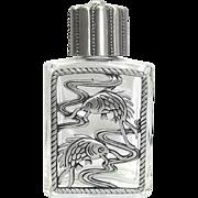 Fish Pisces - vintage Perfume Bottle - Jonette - Clear Glass pewter JJ