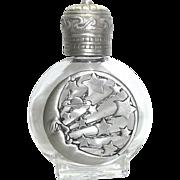 Moon Stars - vintage Perfume Bottle - Jonette - Clear Glass pewter JJ