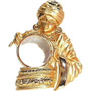 Large Fortune Teller - JJ pin brooch - Gypsy - gold tone