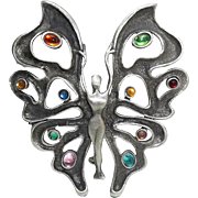Large Fairy Dancer Butterfly - JJ pin brooch - vintage - book piece