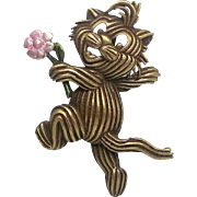Yarn Cat - JJ pin - vintage pewter  brooch