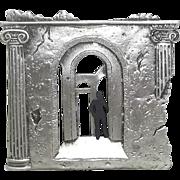 Man in Ruins - JJ pin - vintage pewter Jonette brooch