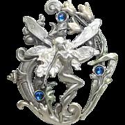 Large Fairy Faery - JJ pin - vintage pewter brooch