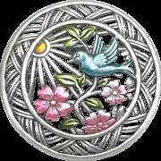Blue Bird Flowers - JJ pin brooch - vintage Jonette Bluebird brooch