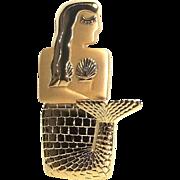 Mermaid - JJ pin brooch - gold tone