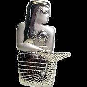 Mermaid - JJ pin brooch - silver tone