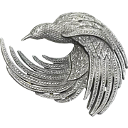 Textured Bird - JJ pin - pewter brooch
