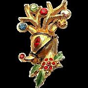 Rudolph Red Nose Reindeer - JJ pin - Christmas brooch