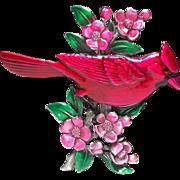 Red Cardinal Bird - JJ pin - vintage Jonette brooch
