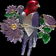 Red Headed Bird - JJ pin - Jonette brooch