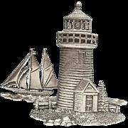 Lighthouse Sailboat - vintage JJ pin brooch