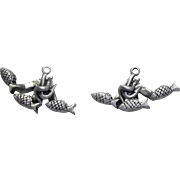 Anchors Fish Nautical - 2 pc pierced earrings - JJ