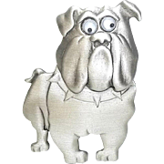 Bulldog - articulated head - JJ pewter brooch pin