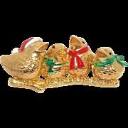 Bird Carolers - AJC Holiday jewelry brooch