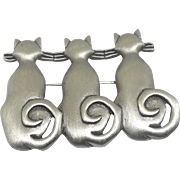 3 Cats with Curly Tails - JJ pin brooch