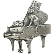 Cat on Grand Piano - Spoontiques pin brooch