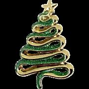 Ribbon Christmas Tree - AJC Holiday pin - green glitter