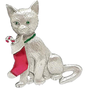 Cat with Christmas Stocking - JJ Holiday pin