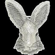 Rabbit Head - vintage pewter JJ pin brooch