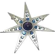 Star Power - silvertone and blue and purple - JJ brooch