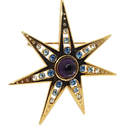 Star Power - goldtone and blue and purple - JJ brooch