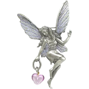 Fairy Faery with Heart - pewter pin - JJ Jonette