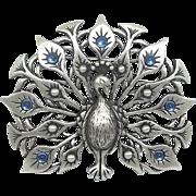 Peacock JJ pin Jonette brooch pewter vintage Rare