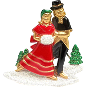 Victorian style Couple Ice Skate - AJC Holiday brooch pin