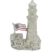 Lighthouse American USA Flag - Spoontiques pin brooch