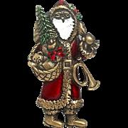 Old Saint Nick Santa - JJ pin Christmas brooch