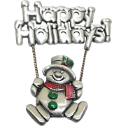 Happy Holiday Swinging Snowman - Spoontiques pin brooch