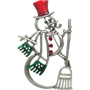 Snowman with Broom - JJ Holiday Pin Jewelry