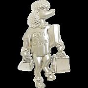 Poodle - Born To Shop - - JJ pin - vintage silvertone brooch