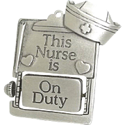 Nurse On Duty / Off Duty - brooch pin - vintage Spoontiques
