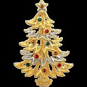 Christmas Tree - JJ Holiday pin brooch - goldtone