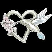 Hummingbird with Heart - JJ pin - vintage brooch