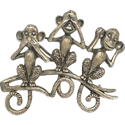 See Hear Speak No Evil Monkey - Danecraft  pin brooch