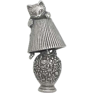 Cat on Lamp - AJC - pewter pin brooch
