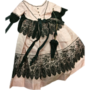 Amazing Rose Pink Dress trimmed with Victorian Lace & faux parasol for large Fashion or Parian