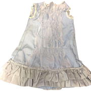 Pale Blue Dress trimmed with vintage lace & taffeta ruffles