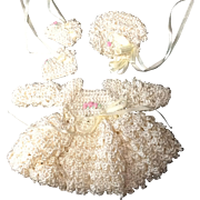 Sweet set  of Silk crocheted Dress, Bonnet & Booties for small doll or all bisque