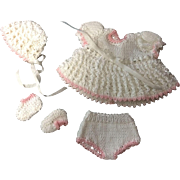 White with Pink trim Knitted Dress, Bonnet, Pants & Booties for small or all bisque doll