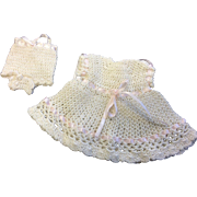 Sweet White Crocheted Dress and matching Underpants for small doll or all bisque