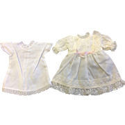 White Cotton Voile Dress and petticoat decorated with ruffled cotton lace & silk ribbon