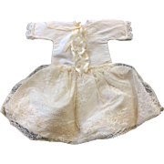 Cream Silk & Vintage Lace Dress for small doll or All bisque