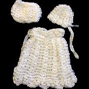 Little White Silk Crocheted Dress, Bonnet & Pants for small doll or doll house doll