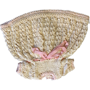 Cream & Pink Knitted Dress for small or all bisque Doll