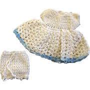 Sweet White Crocheted Dress with Blue Trim & matching Drawers for small or all bisque Doll